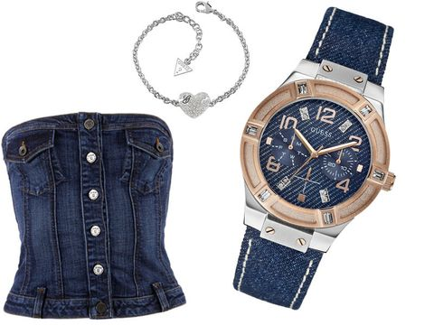 Blue, Product, Brown, Analog watch, Watch, Denim, Textile, Photograph, White, Jeans,