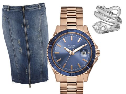 Blue, Product, Brown, Watch, Analog watch, Denim, Textile, Glass, Photograph, White,