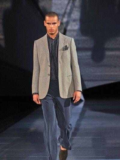 Sleeve, Trousers, Collar, Coat, Shirt, Shoe, Fashion show, Standing, Outerwear, Dress shirt,