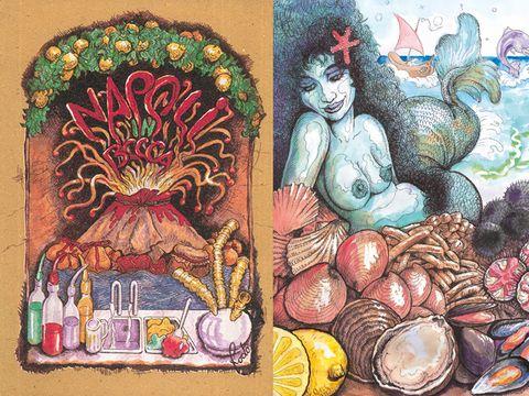 Art, Artwork, Illustration, Painting, Fruit, Mythology, Visual arts, Drawing, Art paint, Fictional character,