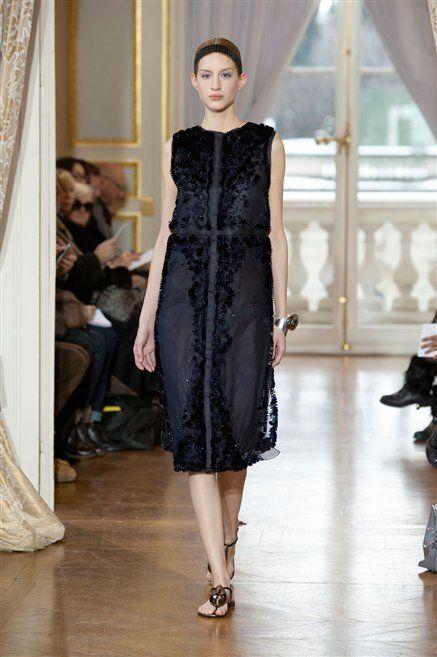 Fashion show, Shoulder, Runway, Dress, Fashion model, Floor, Style, One-piece garment, Flooring, Fashion,