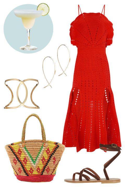 Dress, Red, Drinkware, One-piece garment, Basket, Glass, Drink, Pattern, Cocktail, Carmine,