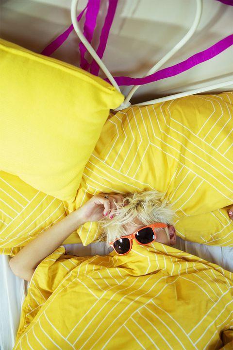 Yellow, Pink, Purple, Magenta, Orange, Sunglasses, Day dress, One-piece garment, Linens, Present,