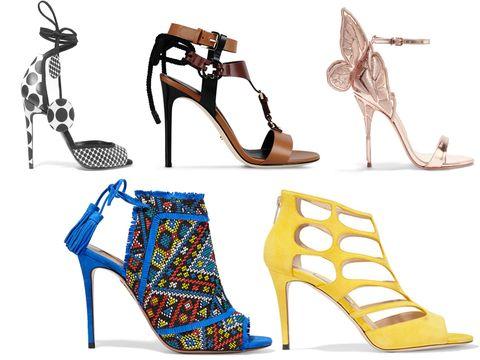 Footwear, Blue, Yellow, Brown, High heels, White, Style, Sandal, Fashion, Tan,