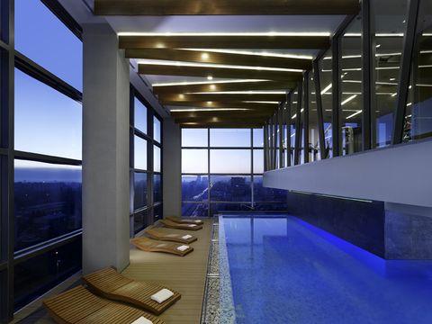 Blue, Architecture, Glass, Interior design, Floor, Ceiling, Fixture, Interior design, Transparent material, Daylighting,