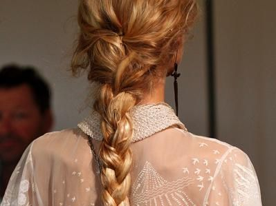 Brown, Hairstyle, Style, Braid, Long hair, Fashion, Neck, Blond, Brown hair, French braid,