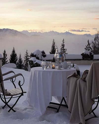 Tablecloth, Winter, Textile, Table, Furniture, Linens, Mountain range, Mountain, Home accessories, Evening,