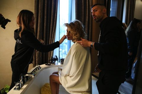 Hair, Interior design, Plumbing fixture, Interior design, Curtain, Conversation, Tap, Sink, Plumbing, Long hair,