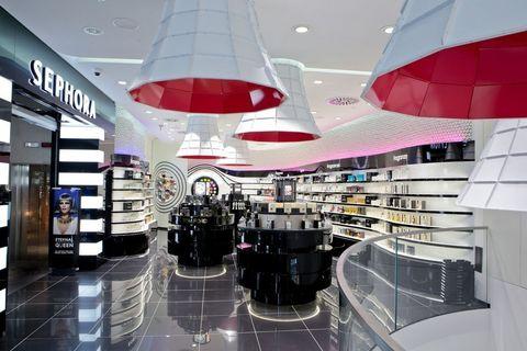 Interior design, Ceiling, Commercial building, Ceiling fixture, Interior design, Light fixture, Retail, Magenta, Shopping mall, Design,