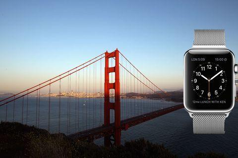 Bridge, Suspension bridge, Watch, Analog watch, Cable-stayed bridge, Watch accessory, Wrist, Glass, Display device, Grey,