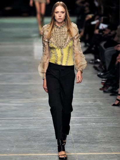Clothing, Footwear, Brown, Fashion show, Shoulder, Joint, Outerwear, Style, Runway, Fashion model,