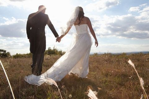 Dress, Trousers, Bridal clothing, Bride, Photograph, Coat, Suit, Happy, Wedding dress, People in nature,
