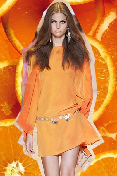 Orange, Amber, Long hair, Peach, Fashion model, Tangerine, Citrus, Mandarin orange, Illustration, Fruit,
