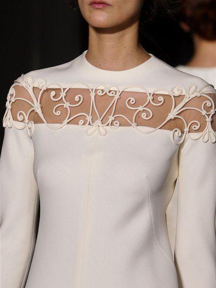 Shoulder, Joint, Fashion, Beauty, Neck, Embellishment, Fashion model, Day dress, Lace, Peach,