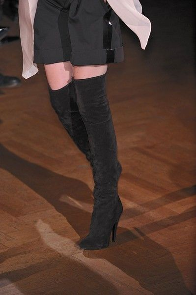 Leg, Human leg, Denim, Black, Knee, Pocket, Leather, Boot, Button, Knee-high boot,