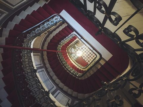 Architecture, Red, Maroon, Symmetry, Stairs, Molding,