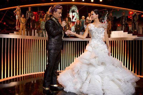 Event, Trousers, Dress, Bridal clothing, Coat, Gown, Formal wear, Suit, Wedding dress, Bride,