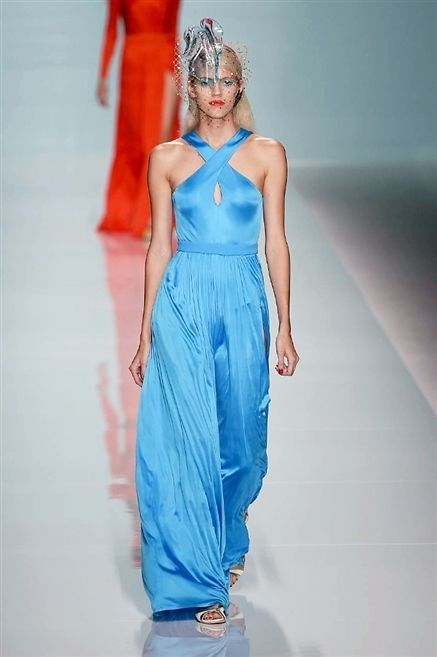 Blue, Dress, Shoulder, Textile, Joint, Standing, Fashion show, Style, Formal wear, Electric blue,