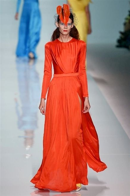 Red, Dress, Style, Fashion show, Costume design, Headgear, Fashion, Orange, Fashion model, Lipstick,