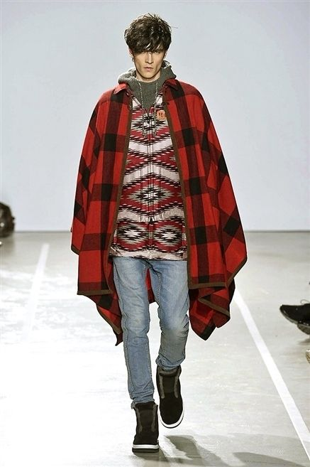 Winter, Sleeve, Fashion show, Shoulder, Textile, Plaid, Outerwear, Pattern, Jeans, Style,