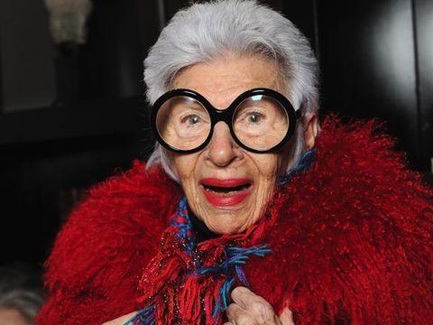 Eyewear, Glasses, Facial expression, Red, Smile, Lip, Fur, Fun, Fur clothing, Vision care,