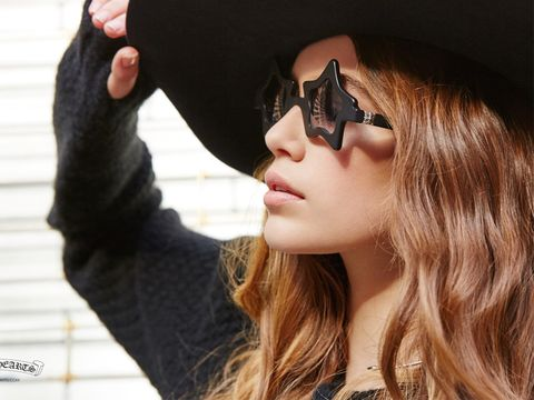 Eyewear, Vision care, Lip, Costume accessory, Fictional character, Masque, Street fashion, Mask, Costume, Long hair,