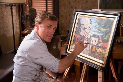 Shirt, Artist, Painter, Picture frame, Paint, Art, Art paint, Easel, Visual arts, Watercolor paint,