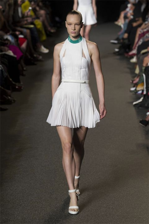 Shoulder, Fashion show, Joint, Human leg, Style, Runway, Fashion model, Dress, Fashion, Neck,