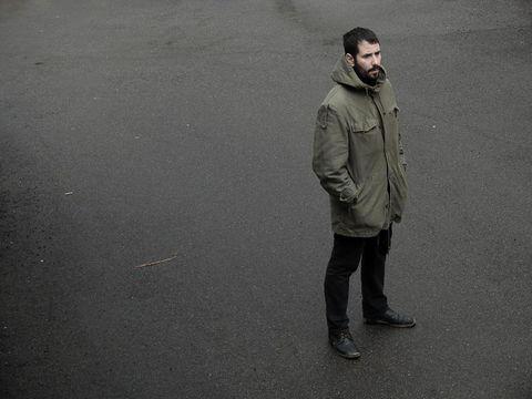 Sleeve, Jacket, Coat, Khaki, Street fashion, Grey, Monochrome, Hood, Parka, Top,