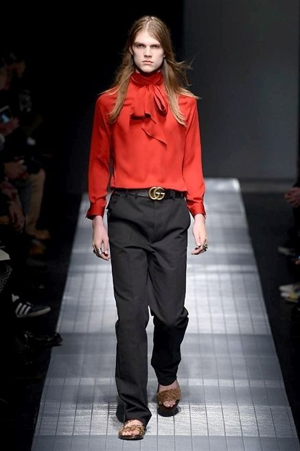 Clothing, Sleeve, Shoulder, Collar, Outerwear, Fashion show, Red, Style, Street fashion, Fashion model,
