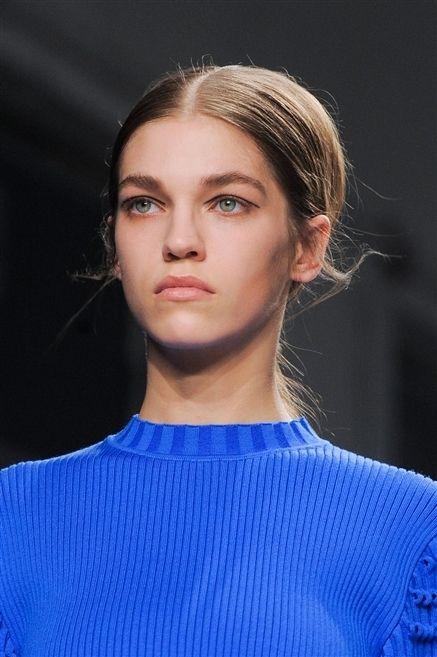 Clothing, Hair, Lip, Hairstyle, Chin, Shoulder, Eyebrow, Eyelash, Electric blue, Neck,
