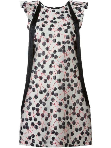 Sleeve, Pattern, Textile, White, Dress, One-piece garment, Style, Formal wear, Orange, Day dress,