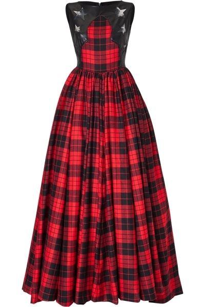 Clothing, Sleeve, Dress, Collar, Plaid, Pattern, Red, Tartan, Textile, Formal wear,