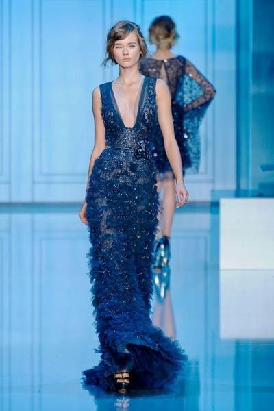 Blue, Shoulder, Dress, Waist, Style, Fashion show, Fashion model, Electric blue, One-piece garment, Fashion,