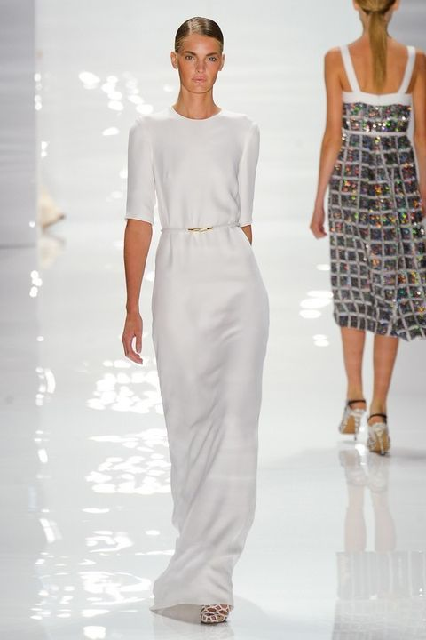 Clothing, Shoulder, Joint, Standing, White, Dress, Waist, Fashion show, Style, Fashion model,