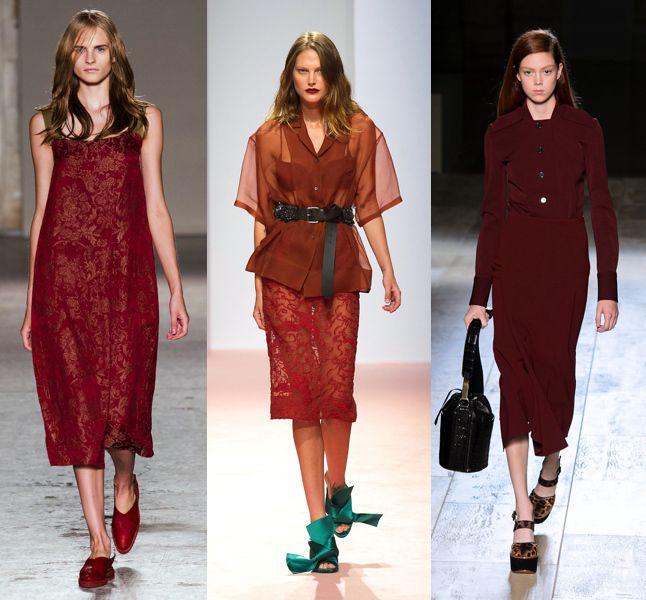 Tendenze primavera-estate 2015: gli abiti e i look color marsala visti in passerella