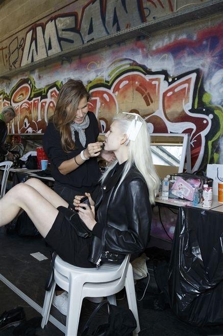 Sitting, Blond, Long hair, Leather, High heels,