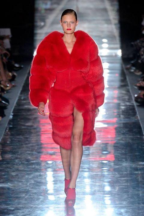 Fashion show, Runway, Outerwear, Red, Fashion model, Winter, Fashion, Fur, Haute couture, Maroon,
