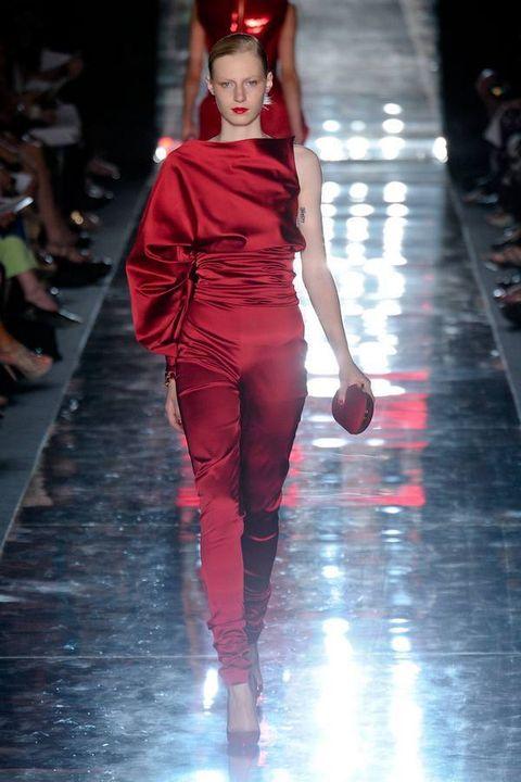 Fashion show, Red, Runway, Fashion model, Dress, Fashion, Waist, Model, Thigh, Haute couture,