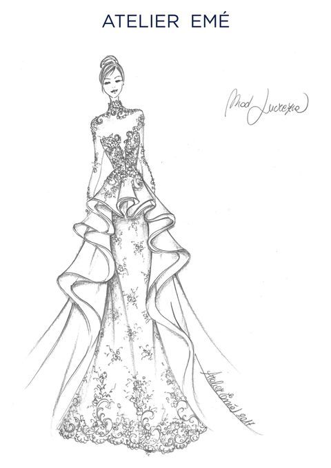 Sleeve, Dress, Line art, Costume design, Waist, Day dress, Artwork, Drawing, Illustration, Embellishment,