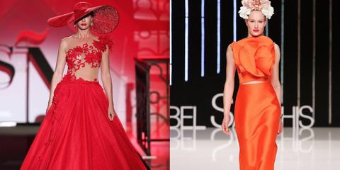 Hat, Red, Dress, Pink, Style, Formal wear, Waist, Headgear, One-piece garment, Fashion,