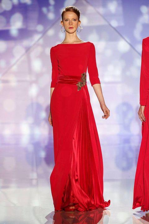Shoulder, Red, Style, Dress, Formal wear, Waist, Fashion model, Fashion, Gown, Neck,