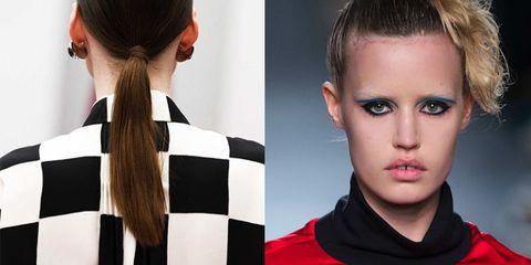 Hair, Ear, Hairstyle, Forehead, Red, Eyelash, Style, Fashion, Neck, Beauty,