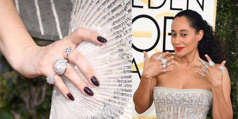 Finger, Jewellery, Nail, Fashion accessory, Style, Wrist, Dress, Beauty, Fashion, Strapless dress,