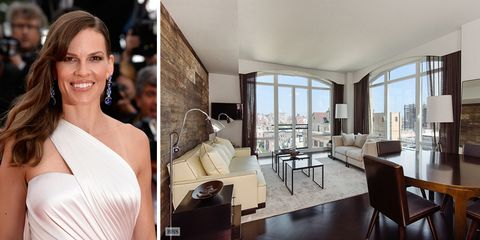 """<p>Nel 2015, <a href=""""http://www.elle.it/showbiz/cinema/news/a859555/hilary-swank-ama-il-pericolo/"""" data-tracking-id=""""recirc-text-link"""">Hilary Swank</a> ha messo in affitto il suo appartamento di New York per 20mila dollari (18.500 euro) al mese). Le due camere da letto, i due bagni e la posizione ne fanno l'ideale pied-à-terre.</p>"""