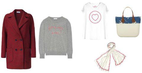 <p>Un look semplice dal messaggio chiaro. Cappotto Red Valentino, felpa Franca (da acquistare su Net à Porter), t-shirt Stefanel, sciarpa Foliero Sarti, borsa O Bag</p>