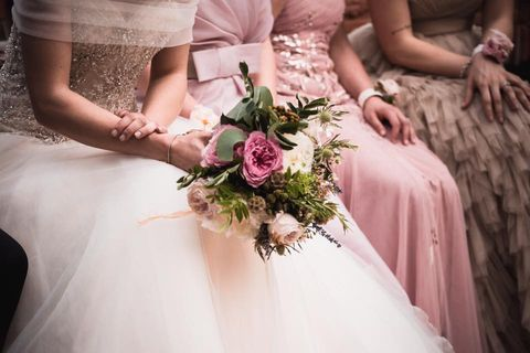 Bride, Photograph, Pink, Dress, Bouquet, Wedding dress, Gown, Bridal clothing, Flower, Ceremony,