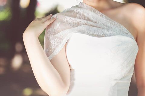 Shoulder, White, Dress, Clothing, Wedding dress, Gown, Pink, Bridal clothing, Arm, Joint,