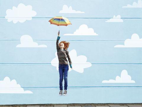 Umbrella, Blue, Sky, Illustration, Cloud, Water, Design, Tree, Art, Fashion accessory,