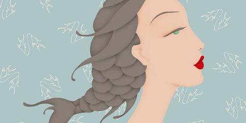 Hair, Face, Head, Skin, Illustration, Hairstyle, Beauty, Long hair, Cheek, Lip,